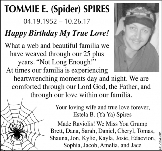 Happy Birthday Tommie E. Spider Spires