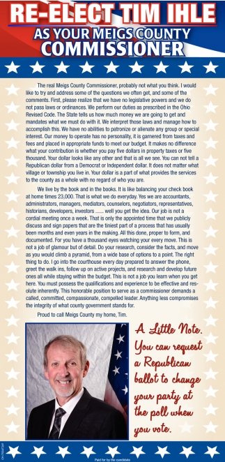 Re-Elect Tim Ihle for Meigs County Commissioner
