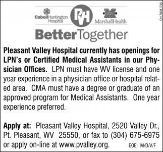 LPN's or Certified Medical Assistants