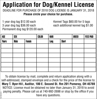 Application for Dog/Kennel License