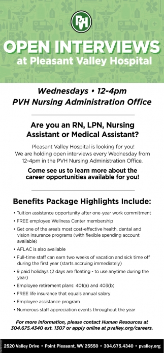 Registered Nurse, Licensed Practical Nurse, Nursisng Assistant, Medical Assistant