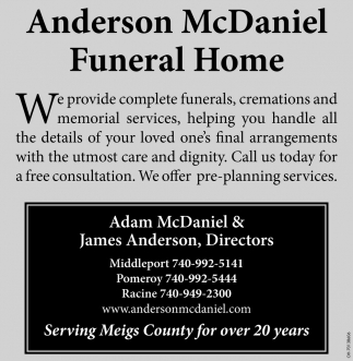We provide complete funerals, cremations and memorial services