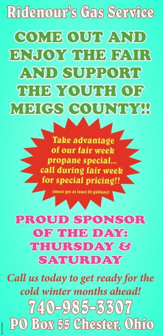Come out and enjoy the fair and support the youth of Meigs County
