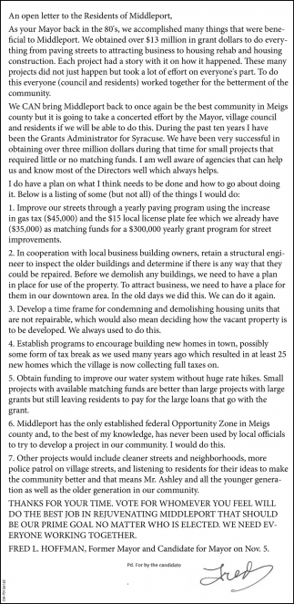 Letter to the Residents of Middleport